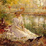 American artists - Theriat Charles James A Beauty By A River