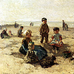 American artists - akkeringa Johannes Evert Children Playing On The Beach