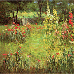 Adams John Ottis Hollyhocks and Poppies The Hermitage, American artists