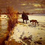 American artists - Hartwick Hermann A Hunter In A Winter Landscape