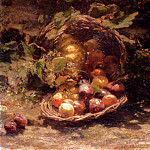 Bakhuyzen Gerardina Jacoba Van A Wicker Basket Of Plums Apricots And A Pumpkin, American artists