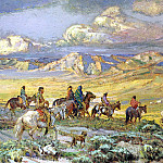 American artists - Berninghaus Oscar E Friendly Indians Watching A Wagon Train