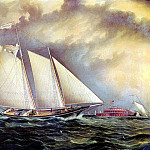 American artists - Buttersworth James E Yachting Off Castle Garden