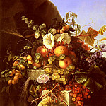 American artists - Dietrich Adelheid Still Life With Grapes Peaches Flowers And A Butterfly