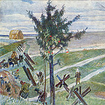 1946-47 Farmer digging protivot. ditches on the outskirts of Moscow. B., gouache, temp. 63h82 TG, Alexander Deyneka