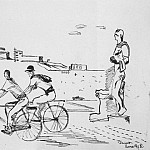 Alexander Deyneka - 1935 Italian workers on bicycles. B., ink, pen. 24, 8h31, 5 MHS
