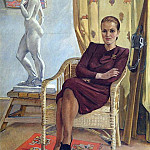 1955 Portrait of the architect Tamara Mileshina. H., M. 136, 6h100 Kursk, Alexander Deyneka