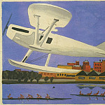 1930 takeoff hydroplane. Fig. childrens book In the clouds. B., ink, wc. AoA 19x20, Alexander Deyneka