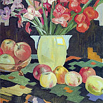 1953 Gladiolus and apples. Oil on canvas. 79h60 MHS, Alexander Deyneka