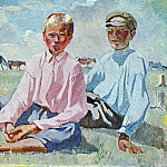 1933 Vacationers children. Oil on canvas. Kursk, Alexander Deyneka