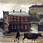 1925 After the rain. Kursk. Oil on canvas. 36h50 TG, Alexander Deyneka