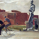 1935 Italian workers on bicycles. H., M. 80x101 Lviv, Alexander Deyneka