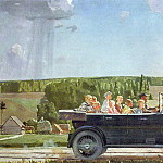 Alexander Deyneka - 1938 Lenin on the walk with the children. H., M. 135x190 TSMVS USSR
