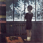 Alexander Deyneka - 1931 Girl at the window. Winter. J., M. 90h98 ES