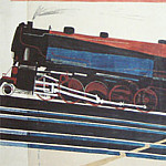 1930 steam locomotive. 1930-31 Kursk, Alexander Deyneka