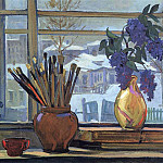 Alexander Deyneka - 1947 window in the studio. H., m. 65, 5h90 Private Collection
