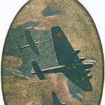 1938 mosaic art. m Mayakovsky. 06 aircraft in night sky., Alexander Deyneka