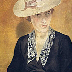 1935 Portrait of IL in a straw hat. H., M. 80x60 GRM, Alexander Deyneka