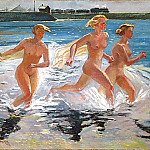 1941 Running girl. Oil on canvas, 65h79, Alexander Deyneka