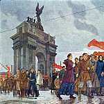 Alexander Deyneka - 1960 Octobers slogans of peace in the Neva Gate.