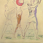 1928 Three male figures with balls. B., wc. , Pen. 22, 7x17 MHS, Alexander Deyneka