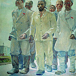 1936 Heroes of the First Five Year Plan. Oil on canvas. 250x192 Almaty, Alexander Deyneka