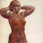 1951 The girl, knotted ribbon on his head. Sketch a picture «Bather». Paper, sanguine, charcoal, 99h79 Private coll., Alexander Deyneka