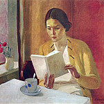 Alexander Deyneka - 1934 Portrait of a girl with a book. H., M. 90h98 RM