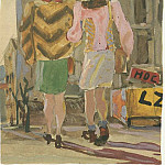 1947 from the Viennese sketches. B., wc. Gouache. 19, 5x14 MHS, Alexander Deyneka
