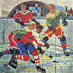 Alexander Deyneka - 1959-60 hockey players. Mosaic. 215h217 USSR Ministry of Culture