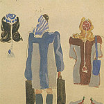 1947 from the Viennese sketches. B., wc. Gouache. 21 x15 MHS, Alexander Deyneka