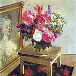 Alexander Deyneka - 1948 Flowers on the carpet. Oil on canvas. 100x80 MHS