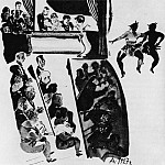 Alexander Deyneka - 1927 Jolly theater. Fig. from railway. Atheist in the machine (1927. № 3)