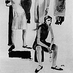 1929 From the series Modern Woman. Fig. to train. Searchlight. B., ink, wc. 39, 8x29, 1 TG, Alexander Deyneka