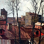 1954 Spring. Roofs. Oil on board 37h49 MHS, Alexander Deyneka