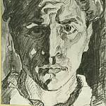 1916 Self-Portrait. B., wc. , Room 15x10, 7 MHS, Alexander Deyneka