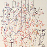 Alexander Deyneka - 1930 cavalry. Fig. for children. book. -Pictures Parade of the Red Army. Kursk