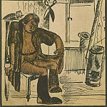 1922 Fig. by Ivan Krylovs fable The Cat and the cook. Color. avtolitogr. 13, 5x12 MHS, Alexander Deyneka