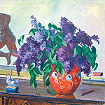 1940-50s Lilac. Oil on canvas. 78h100, Alexander Deyneka