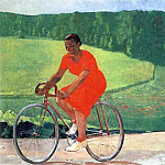 1935 Farmer on a bike. H., M. 120x220 GRM, Alexander Deyneka