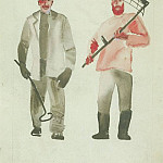 1927 Worker and peasant. Fig. to train. Spark. BI, col. ink, whitewash. 26, 7x21, 3 MHS, Alexander Deyneka