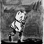 Alexander Deyneka - 1934 figure of a soldier with a rifle in his hands, passing into the distance with bowed head. Fig. to the book. Henri Barbusse in flames. BA, mascara. 34, 5h24, 5 DEM USSR