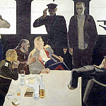 1933 interrogation. The headquarters of the Whites. Oil on canvas. 130x200 GRM, Alexander Deyneka