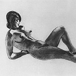 1953 Reclining model. Paper, pencil. 44h64 MHS, Alexander Deyneka
