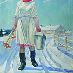 Alexander Deyneka - 1959 Milkmaid. Oil on canvas. 163x132 Irkutsk