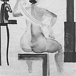 Alexander Deyneka - 1928 Artists Model in front of a mirror. B., wc. , Pen. 58, 5h44, 2 TG