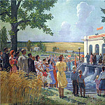 1952 At the opening of the collective farm power. Panel for center. Pav. USSR Agricultural Exhibition. H., M. 235h295 MHS, Alexander Deyneka