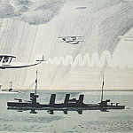 1934 Hydroplanes on ships. Lithography. Fig. to the book. B. Ural Electrician. Kursk, Alexander Deyneka