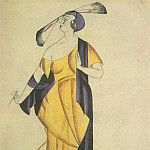 1920 theatrical costume sketch. B., wc. 24x17, 3 MHS, Alexander Deyneka