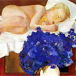 Alexander Deyneka - 1932 Sleeping Child with cornflowers. H., 67h78 pm MHS